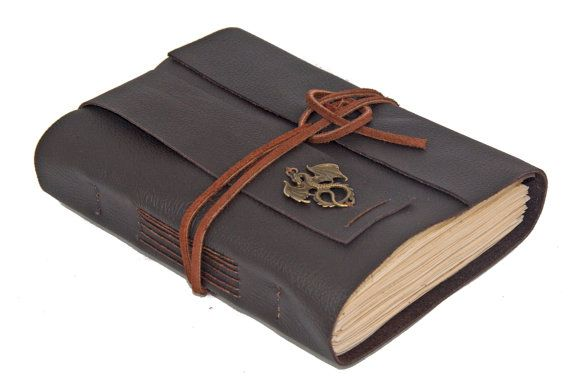 Dark Brown Leather Journal with Tea Stained Paper by boundbyhand, $39.00