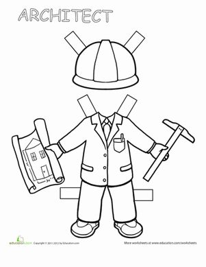 If your child loves to construct things out of building blocks, he might appreciate this architect from the career paper dolls series.
