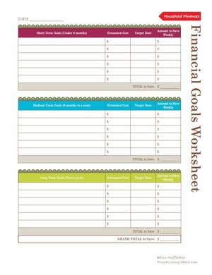 Free Household Notebook. Includes 36 Printables: Financial Goals Worksheet