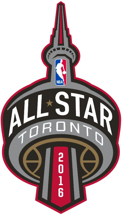 NBA All-Star Game Primary Logo (2016) - 2016 NBA All-Star Game Logo - Game played in Toronto, ON. Logo features CN Tower with ALL STAR around the observation deck and year running down the elevator shaft in black, red, silver, and gold
