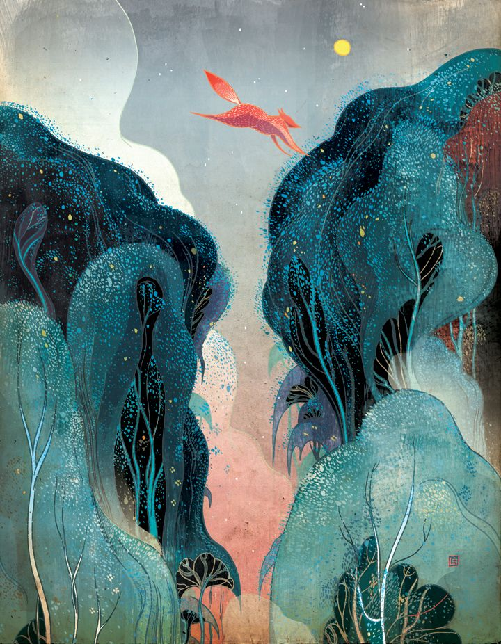 """Leap""  Victo Ngai is a NY based illustrator from Hong Kong. ""Victo"" is not a typo or a boy, but a nickname derived from ""Victoria"" - a leftover from British colonization."