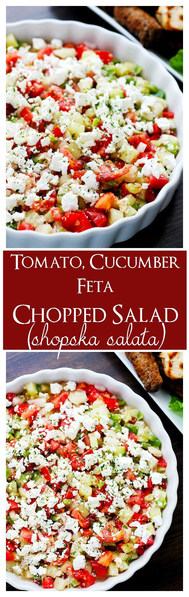 Tomato, Cucumber, Feta Chopped Salad (Shopska Salata) | www.diethood.com | The Macedonian version of a chopped salad with cucumbers, tomatoes, onions, peppers and white [feta] cheese.