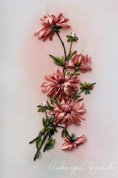 Many well known world ribbon embroiderers on this site....Ribbon-Art.net - Gallery of artwork, - the gallery works, silk ribbon embroidery, samples and examples  http://ribbon-art.net/gallery/37/307