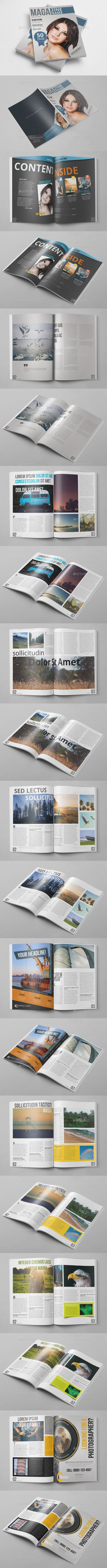 20 Pages Photoshop Magazine Template #design #journal Download: http://graphicriver.net/item/20-pages-photoshop-magazine/10767223?ref=ksioks