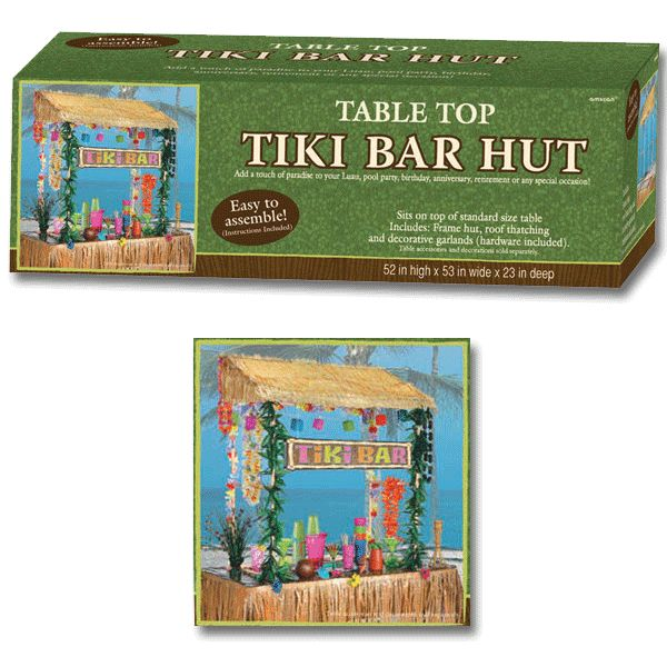 Bring out the blender and cold drinks! This table top Tiki Bar Hut will bring a bit of the resort life to your next luau. Complete with a hut, a thatched roof and garland, this kit is sure to take y