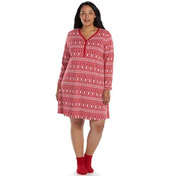 Croft & Barrow® Pajamas: Knit Sleep Shirt with Socks - Women's Plus Size