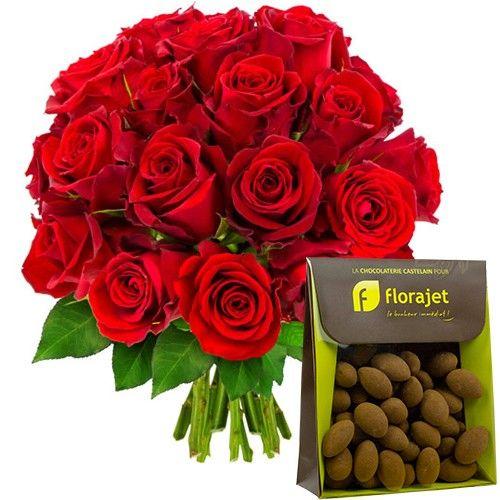 Florajet est fier de vous présenter cette jolie brassée de roses rouges, symbole d'amour et de passion. Un cadeau inoubliable qui saura transmettre vos sentiments les plus sincère. C'est au cœur du vignoble de Châteauneuf du Pape que notre artisan chocolatier travaille les meilleurs cacaos pour vous offrir des bonbons de chocolat raffinés et d'une saveur inégalables. Fermes et poudrées ces amandes en chocolat flattent les papilles et vous font fondre de plaisir.