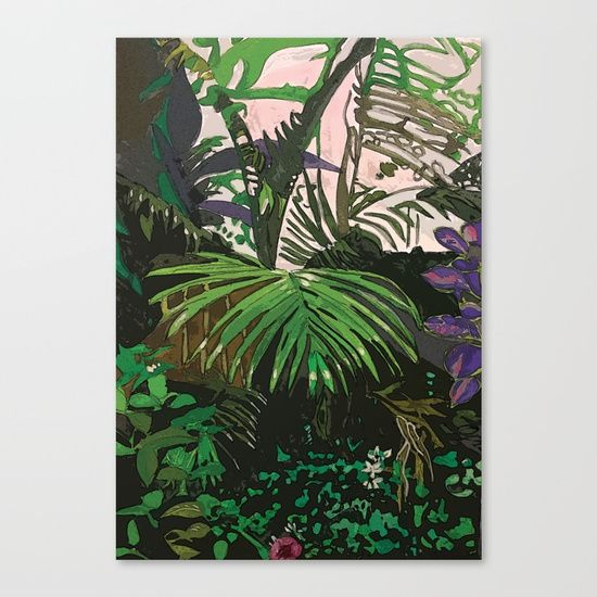 "Fine art print on bright white, fine poly-cotton blend, matte canvas using latest generation Epson archival inks. Individually trimmed and hand stretched museum wrap over 1-1/2"" deep wood stretcher bars. Includes wall hanging hardware. #plants#rainforest#art#watercolor#watercolour#greens#byronbay#artist#design#vector#artforsale#love#beautiful#magic#fantasy#crystal#crystals#crystalart"