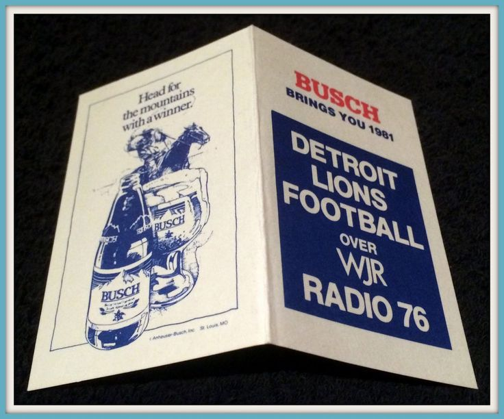1989 DETROIT LIONS BUSCH BEER WJR RADIO FOOTBALL POCKET SCHEDULE FREE SHIPPING #Pocket