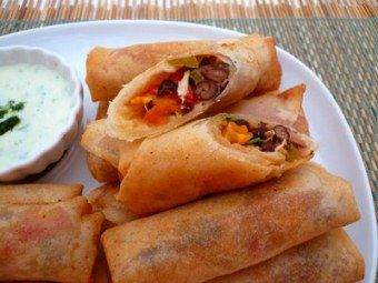 Pinned mainly for the technique: dough recipe for the spring roll wrappers and how to bake them [How To Make Healthy Baked Spring Rolls Recipe]