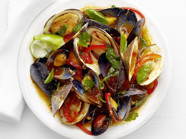 Clams and Mussels in Thai Curry Sauce from Food Network Magazine #Protein #Veggies #MyPlateSeafood Recipe, Sauces Recipe, Food Network, Clams And Mussels, Network Magazines, Thai Curries, Sauce Recipes, Network Kitchens, Curries Sauces
