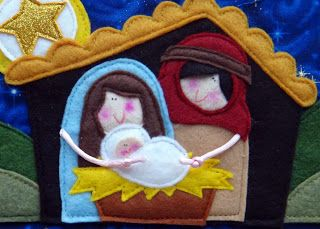 Too cute...The Nativity Story felt finger puppets with scenery/playmat storage case by Lindy J Design at etsy.