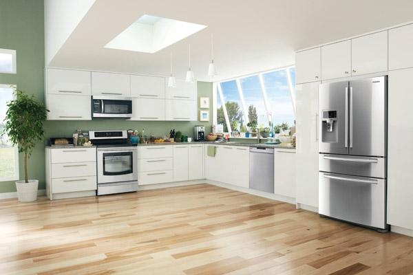 Stainless steel kitchen appliances by Samsung
