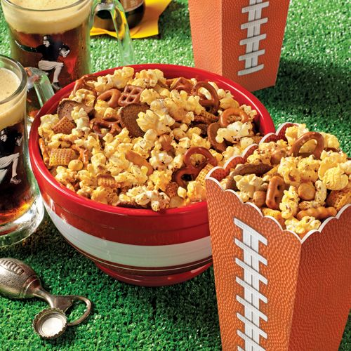 Orville Redenbacher's® Popcorn Party Mix: Baked popcorn recipe combined with snack mix, pretzels and peanuts, then flavored with Worcestershire sauce and seasonings for a snack mix