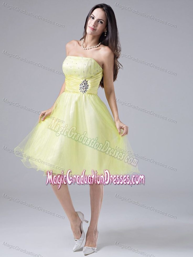 Light Yellow Strapless 5th Grade Graduation Dresses in Knee-length in Elburn