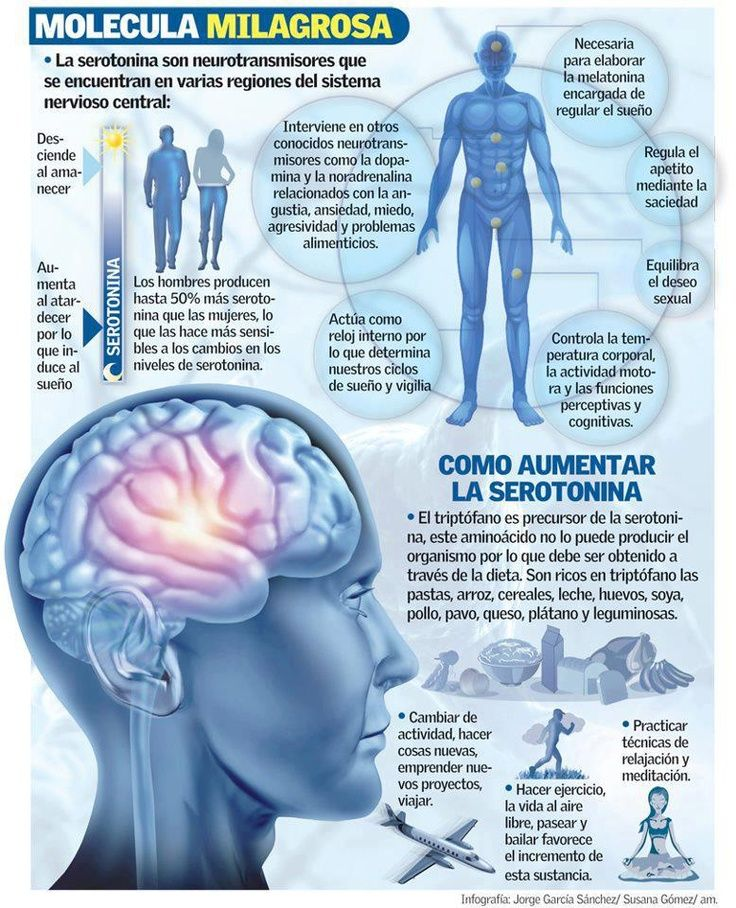 La serotonina es una sustancia química natural, fabricadaen el cerebro, que ayuda a transmitir las señales nerviosas de una parte del cerebro a otra. Este neurotransmisor esresponsable, en parte, de laregulación de funciones, tales como el estado de ánimo, el apetito, el sueño ola memoria. Sin embargo, aunque la serotonina se fabrica en el cerebro, …