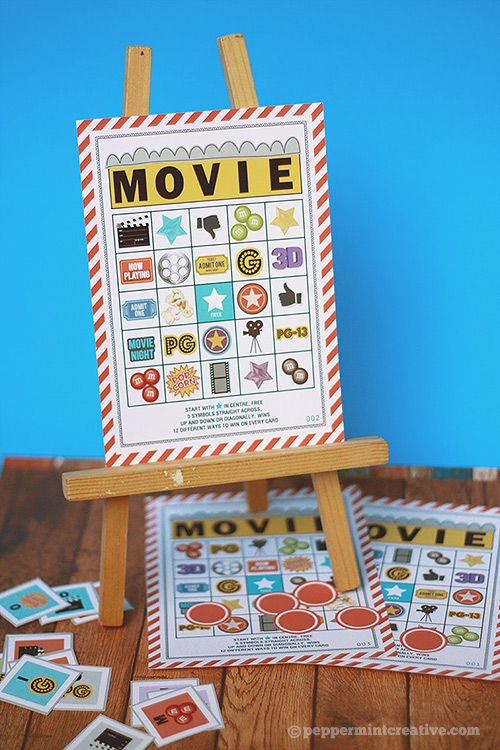 Movie Night Bingo Card Printables