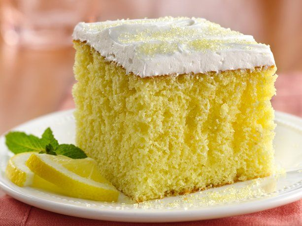 Lemonade Party Cake by Betty Crocker.  My most favorite cake...makes me think of summer.  The recipe calls for frosting but I much prefer whipped topping.
