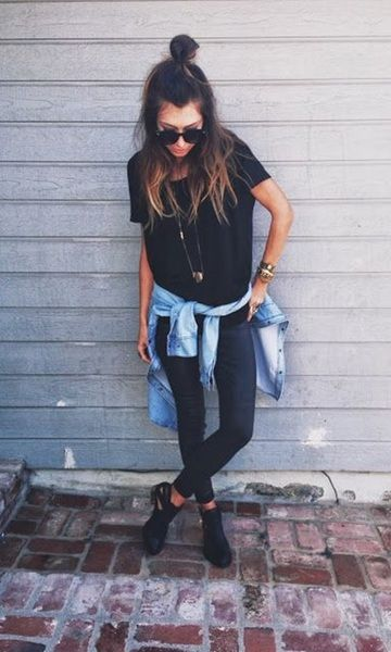 Look: All Black + Jeans