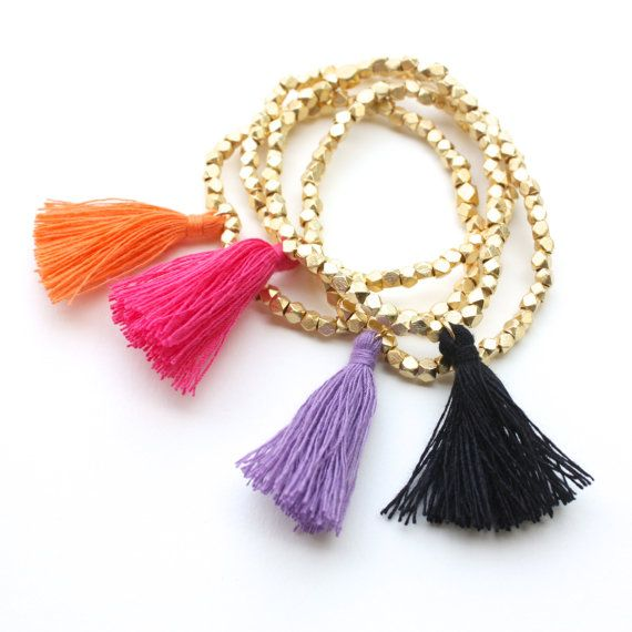 TenThings. GOLD ethnic. beaded. tassel. bracelet. by TenThings, $48.00