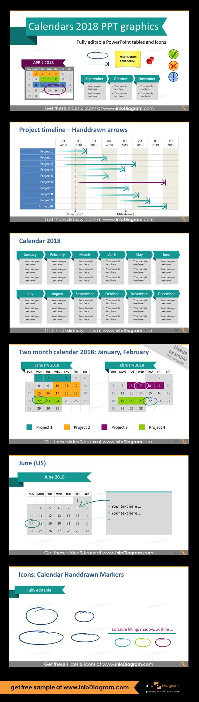 Predesigned 2018 Calendars and Timelines graphics editable in PowerPoint. Fully editable style, size and colors. Project plan calendar tables for marking start, end, duration of the tasks and projects Gantt charts, yearly calendar with place for main goals, two mnth calendar for 2018 year, monthly calrndar with place for description, handwritten markers collection.
