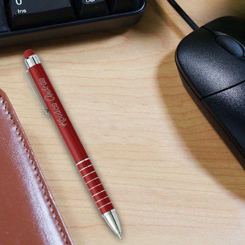 Alumínium golyóstoll, gravírozott, kapacitív érintővel - piros