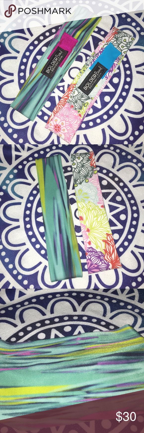"Bolder Band Headband Set Set of two Bolder Band headbands.   Bolder Bands are size regular (fits 21"" to 22.5"") Beautiful multi color and floral headbands.   Comfy, non slip headband that wicks away sweat. Headband is expandable and can be worn thin or wide across the forehead. Bolder Band Accessories Hair Accessories"