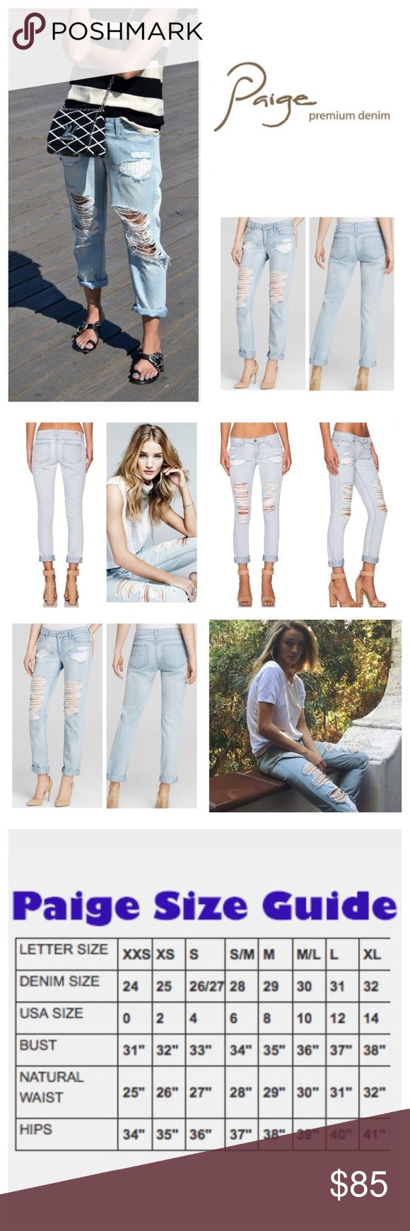 """Anthropologie Paige Jimmy Jimmy Boyfriend.  NWT. Anthropologie Paige Sawyer Destructed Jimmy Jimmy Skinny Boyfriend Skinny, 100% cotton, machine washable, 30"""" waist, 8.25"""" front rise, 13"""" back rise, 39.5"""" inseam, 12.5"""" leg opening all around, boyfriend skinny jeans shredded and distressed for an effortless lived-in look, narrows at the knee, silver-tone hardware, five pockets, belt loops, zip fly button closure, measurements are approx.  NO TRADES Anthropologie Jeans Boyfriend"""