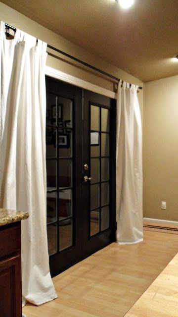 Just had a duh moment. Could do this window treatment over a sliding glass door instead of vertical blinds. Oh, and if you have french doors, you can paint them.