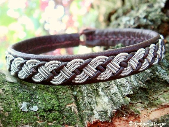 Sami Lapland VALHAL Reindeer Leather Bracelet Cuff - Womens and Mens Bracelet in Antique Brown with Braided Spun Pewter and Leather Cord.