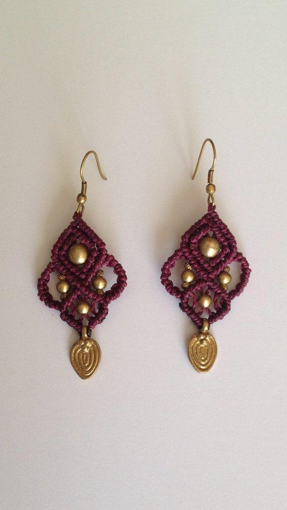 Tribal gypsy macrame earrings with brass beads- purple color