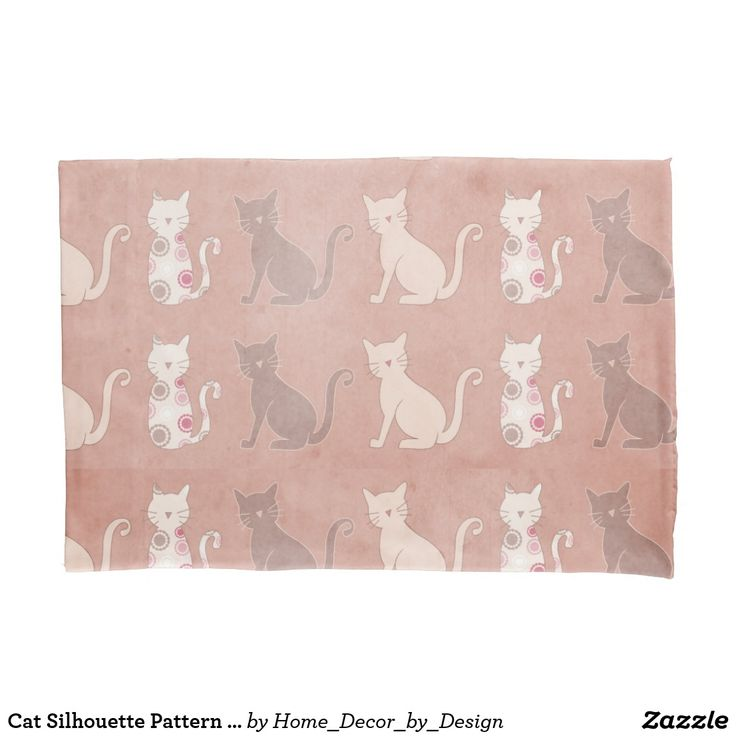 Cat Silhouette Pattern on Brown Pillow Case