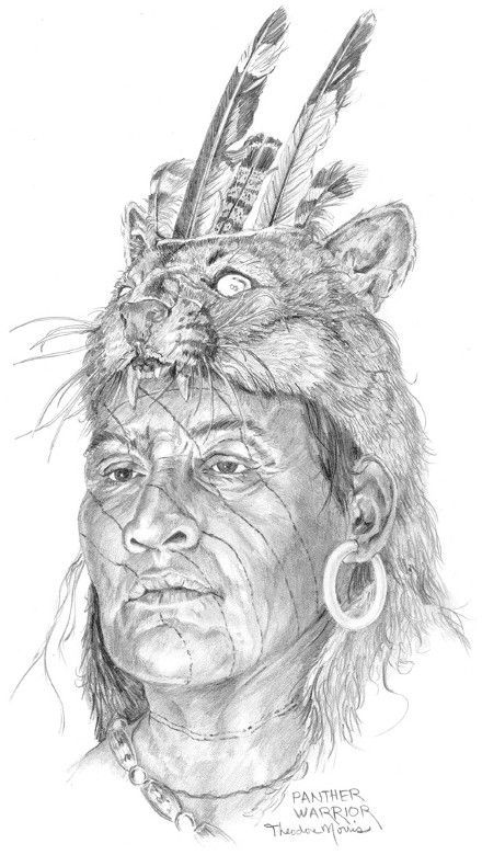 Panther Warrior(Timucua Tribe of Florida). Florida Lost Tribes Art Project by Theodore Morris