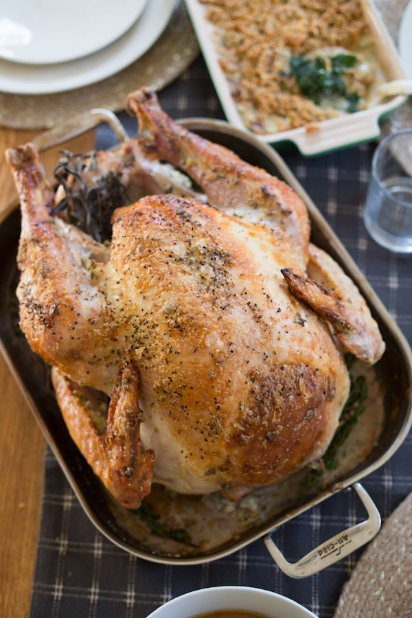 Garlic Herb Mayonnaise Roasted Turkey has a crispy skin, flavorful meat, and makes the best gravy you've ever had! Thanksgiving turkey at its best!