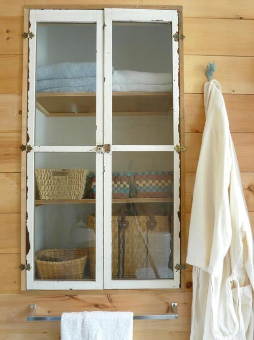 Upcycled cabinet doors: Rustic Bathroom, Bathroom Storage, Dreams Bathroom, Bathroom Closet, Old Window, Old Doors, Bathroom Cabinets, Outdoor Bathroom, Cabinets Doors