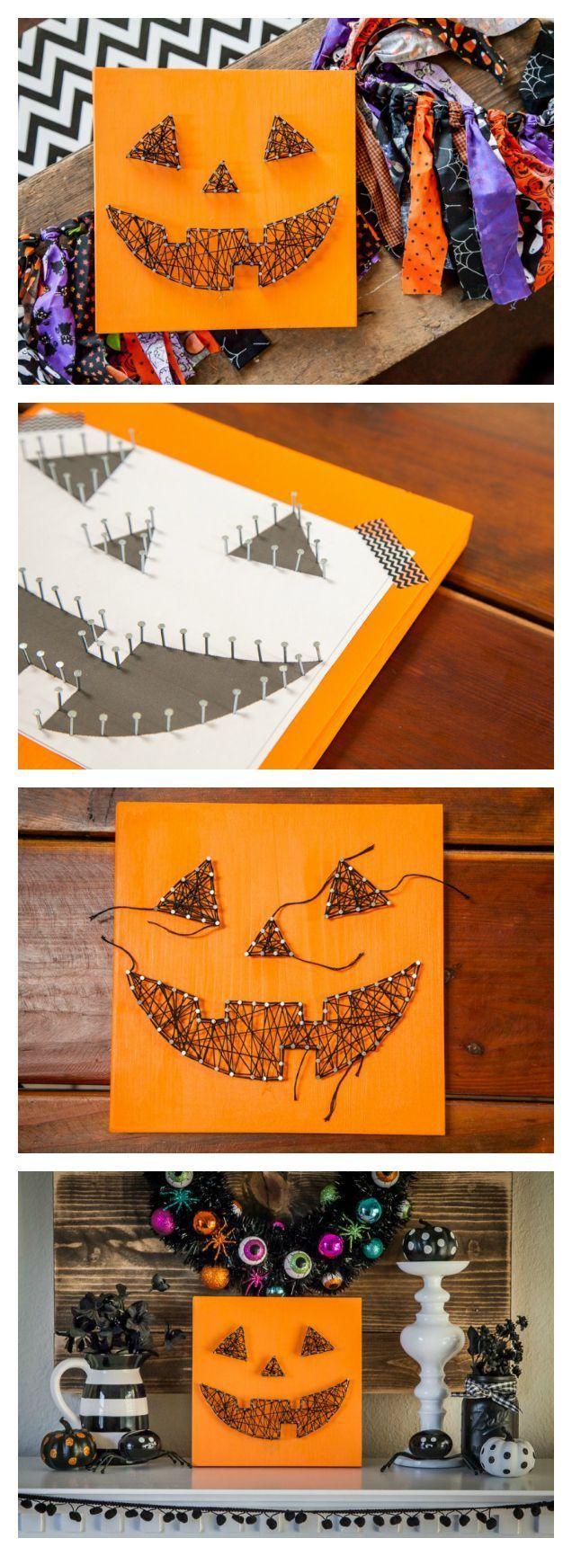 Jack-O-Lantern String Art Sign   Halloween Crafts