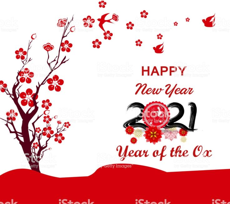 Happy chinese new year 2021 year of the ox flower and
