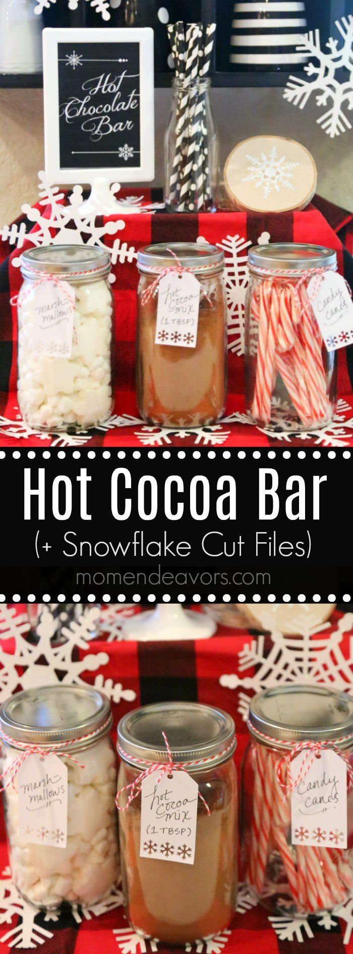 Snowflake Hot Cocoa Bar - ideas, free printable, & snowflake Cricut cut files for setting up a hot chocolate bar perfect for holiday parties or for the whole winter season! #CricutHoliday #CricutMade AD