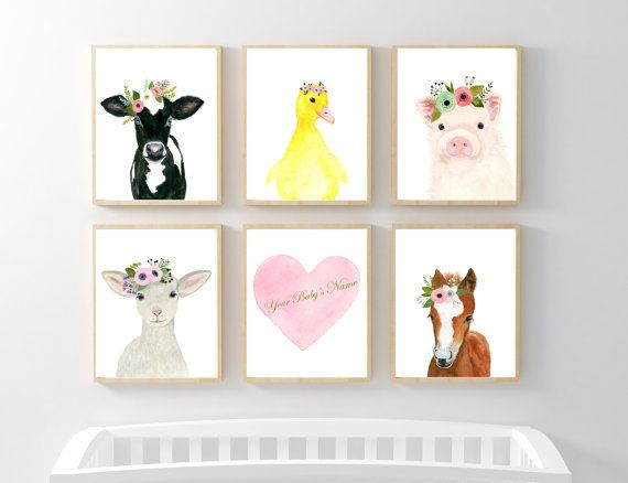 Farm animals print set, Set of 6 Prints,duckling, calf, lamb, piglet, foal,farm animas nursery set, nursery print set
