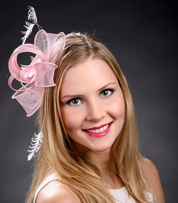 Pale pink fascinator for weddings bridal showers by MargeIilane