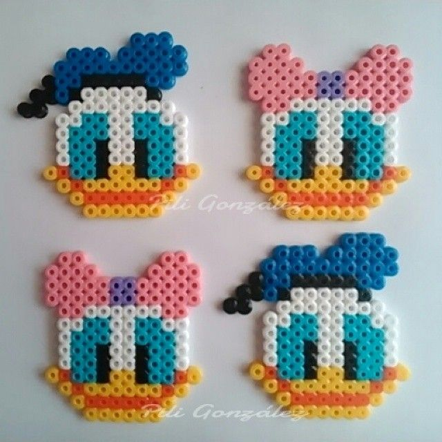 Daisy and Donald Duck hama beads by piligonzalez.hamabeads