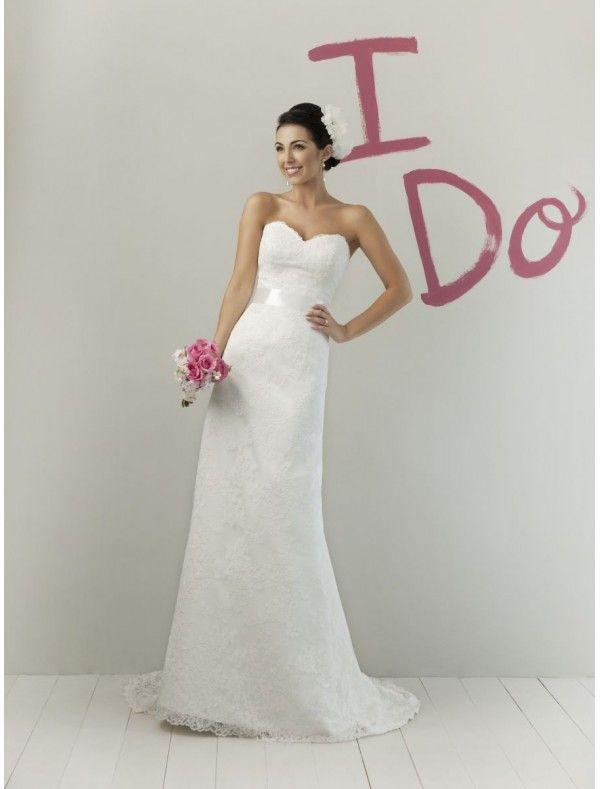 Lace Sweetheart Strapless Neckline Sheath Wedding Dress with Bow back Waistband - Bridal Gowns - goodcheapweddingdress