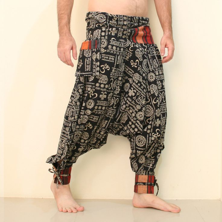 "eSiamCenter Pantalones Harem Festival OM -Fabric: 100% Cotton Color or Pattern: OM Burning Man pattern Around Waist: 36"" Leg Length: 37"" Inseam Length: 22"" Fit for Size XS-S-M (8-10-12) Quality: New More Details: front tie waist, 2 outside pocket, embroidered cuffs"