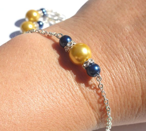 Bridesmaid Bracelet Gold/Yellow and Navy by StunningGemsJewelry