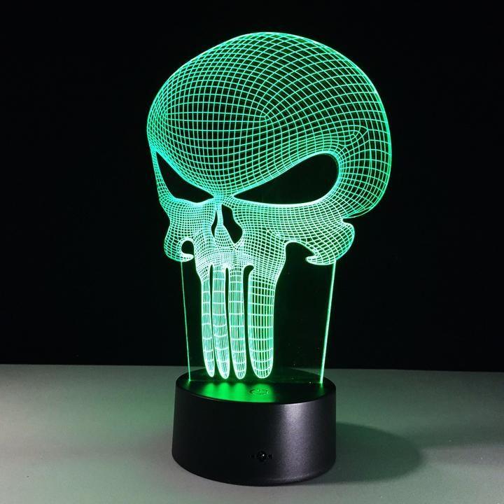 Punisher Skull 3d Led Lamp Dekorativnye Svetilniki Svetilniki Cherep