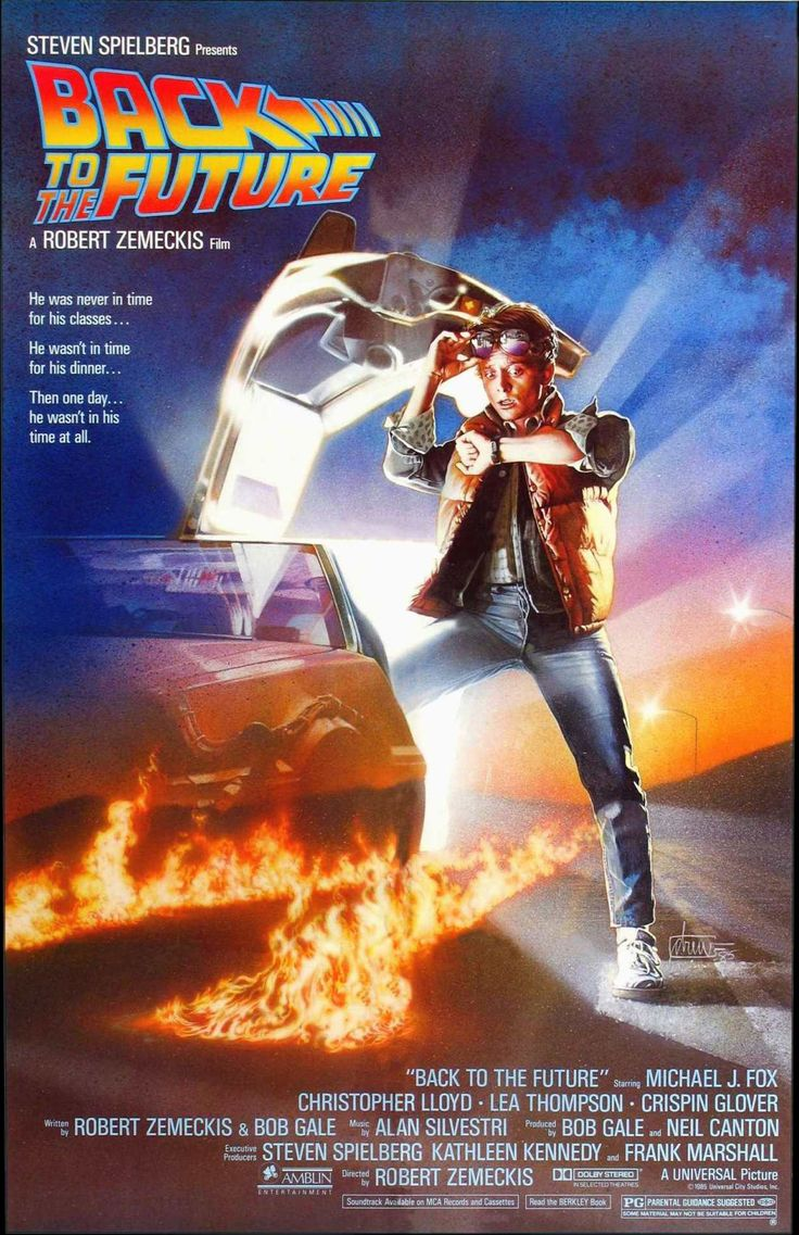 1985 - Back to the Future - A teenager is accidentally sent 30 years into the past in a time-traveling DeLorean invented by his friend, Dr. Emmett Brown, and must make sure his high-school-age parents unite in order to save his own existence. #movies