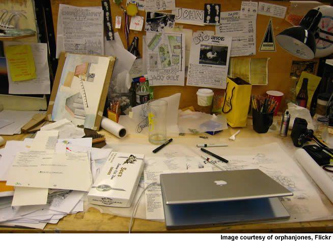 messy desk top view - Google Search