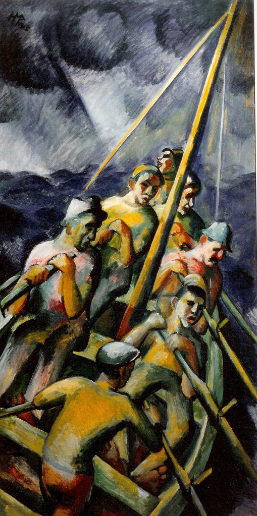 Fischerboot, 1913  955) Max Pechstein (1881-1955) was a German expressionist painter and printmaker, and a member of the Die Brücke group.  , Pechstein was vilified by the Nazis because of his art. A total of 326 of his paintings were removed from German museums. Sixteen of his works were displayed in the Entartete Kunst (Degenerate Art) exhibition of 1937.