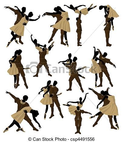 Ballet Couple Illustration Silhouette - great for scrapping