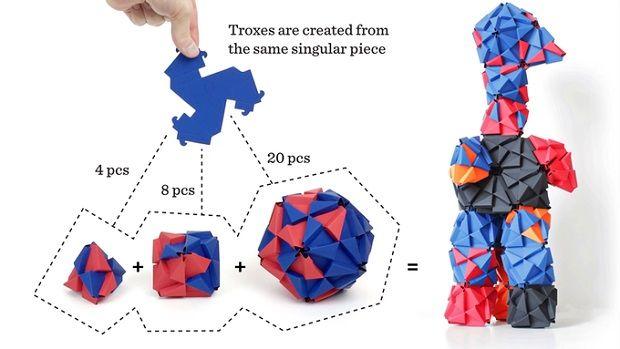 多面体を折って組み立てよう——折り紙ライクな立体ブロック「TROXES」